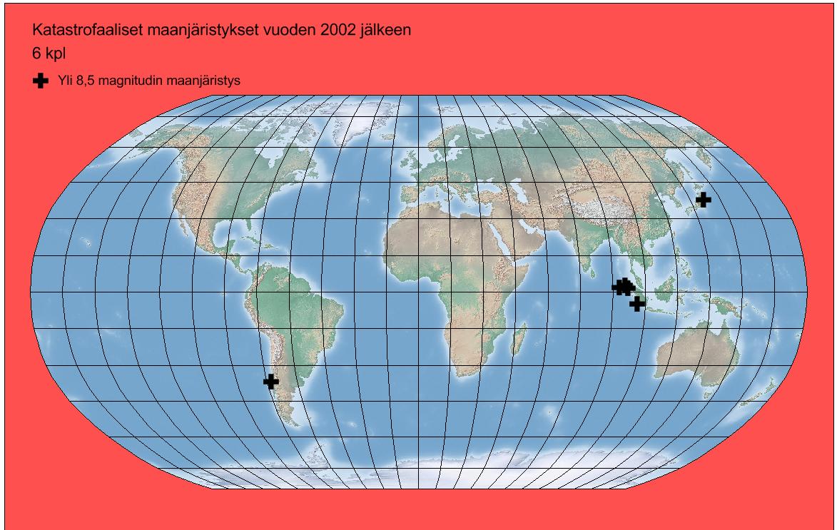 Kuva 3 Yli 8,5 magnitudin maanjäristykset
