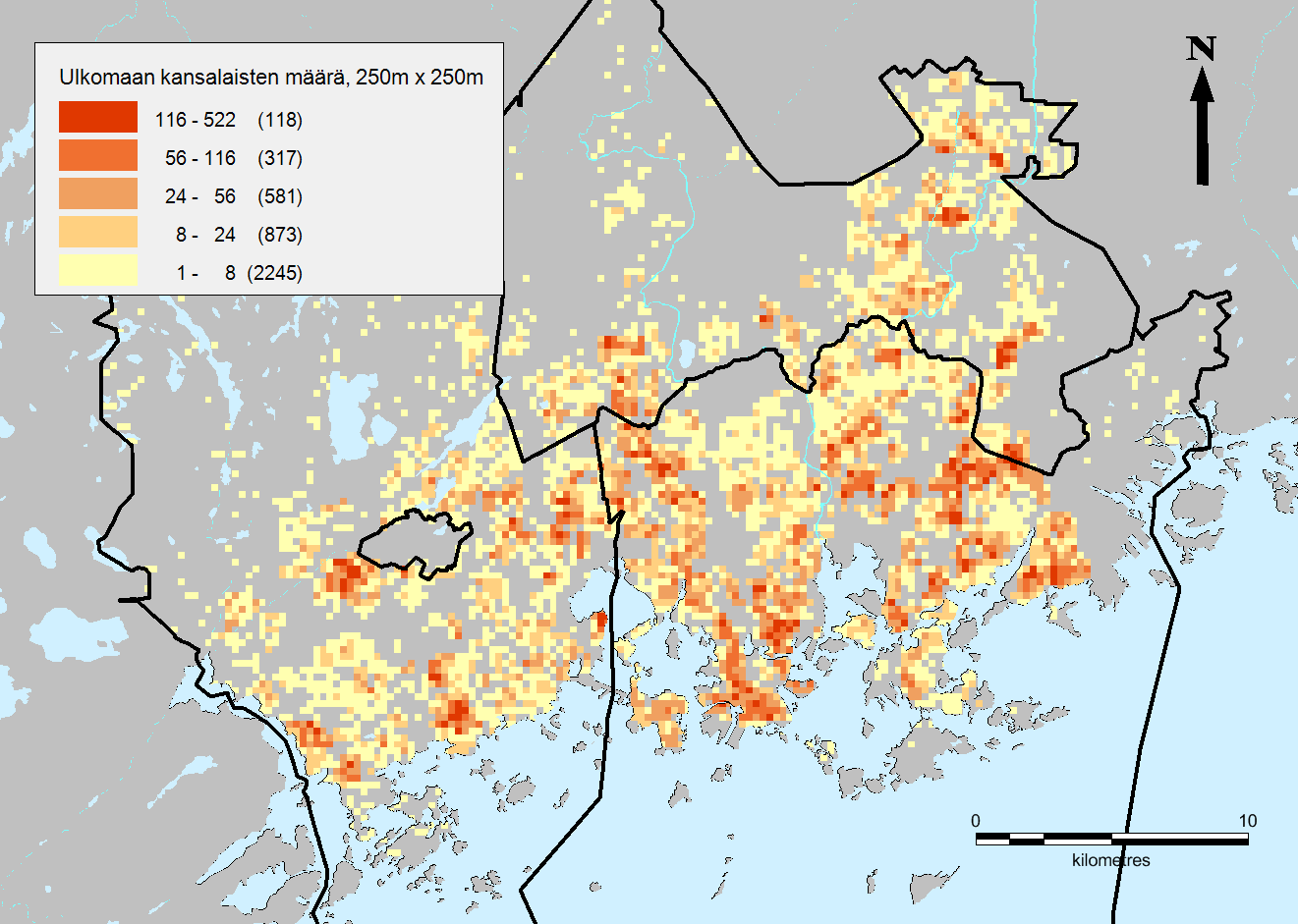 Kuva 2. Ulkomaan kansalaisten määrä PK-seudulla 250m x 250m ruuduilla