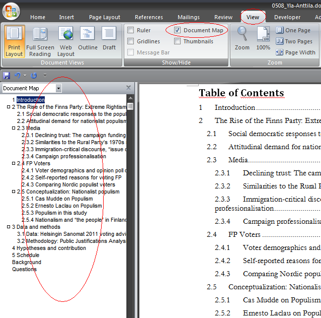 using microsoft word for writing a thesis hints and tips