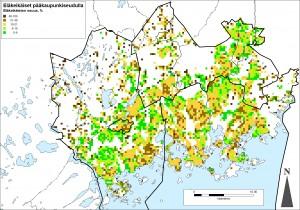 Kuva 1. Eläkeikäisten suhteellinen osuus pääkaupunkiseudulla.