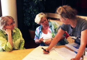 Faculty's development day. In the photo: Ritva Katsuno, Satu Sankari and Anna Hielm-Björkman.
