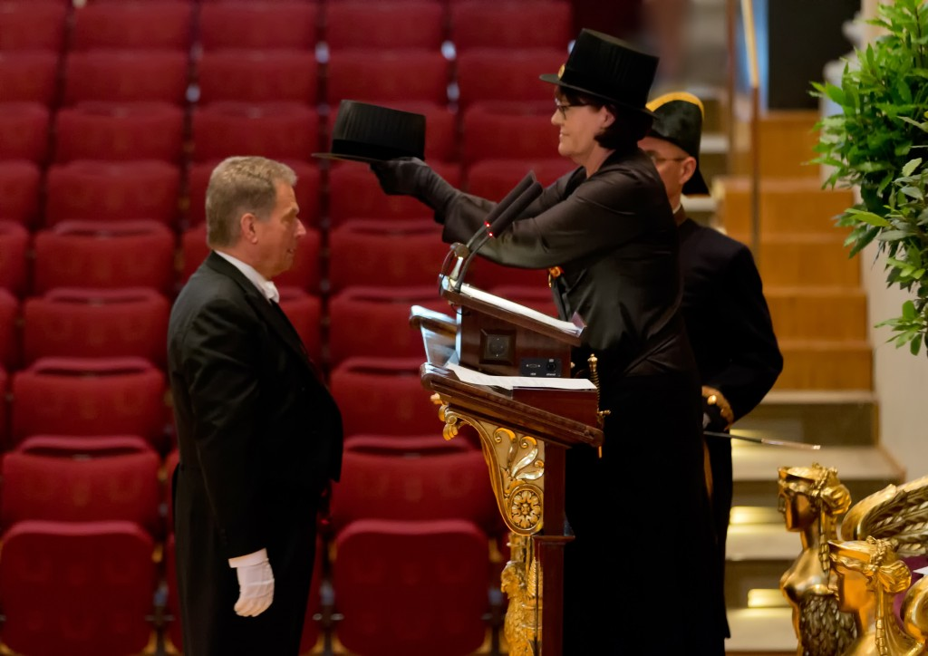 Conferrer, Professor Terttu Katila confers President Sauli Niinistö as Honorary Doctor
