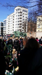 "The traditional May Day gathering and singing took place by the horse statue called ""Mother's love""."