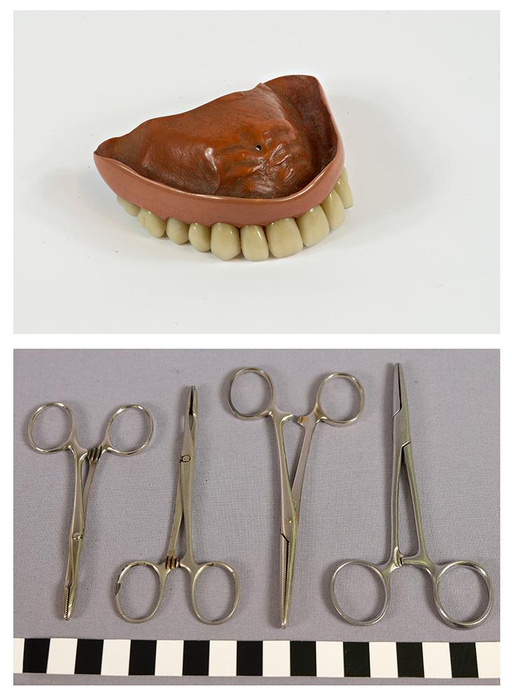 Hammasproteesi ja metallisia saksia muistuttavia pihtejä.