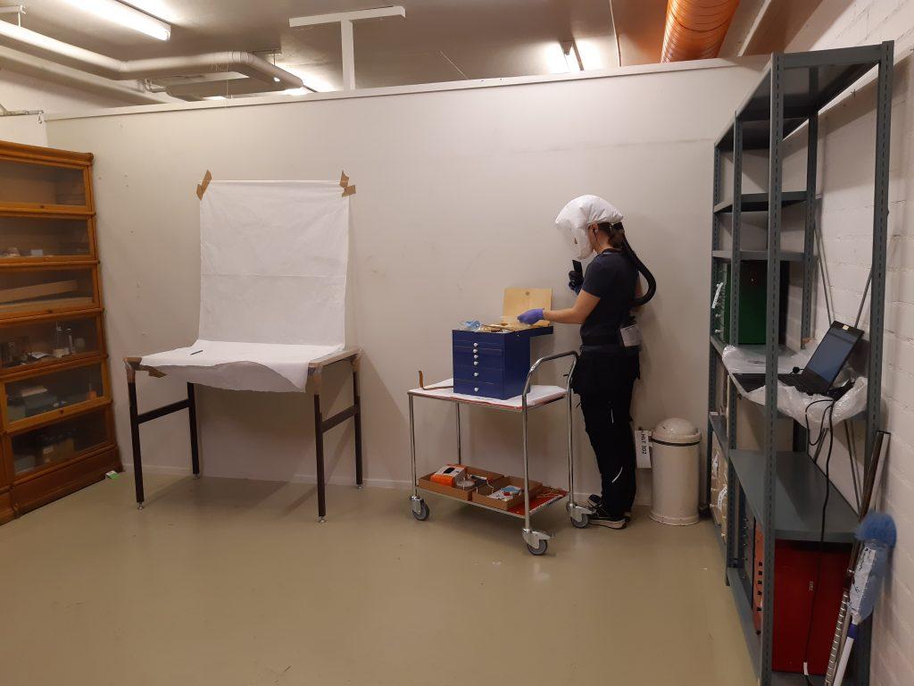 Helsingin yliopistomuseon työntekijä tutkii esineitä suojavarusteissa valkoisen seinän edessä. Työntekijän vieressä on valkoisesta kankaasta ja pöydästä kyhätty valokuvasupiste.